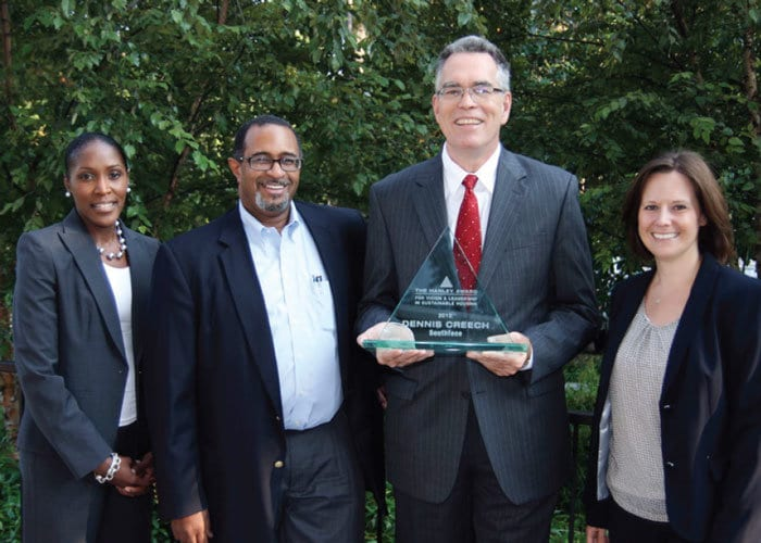 Dennis Creech is pictured with Denise Quarles, director of sustainability for the City of Atlanta; Charles Whatley, chair of the Southface Board of Directors; and Katie Weeks, editor-in-chief of ECOBUILDING for Hanley Wood.